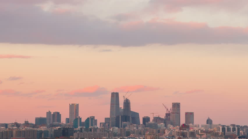 Time Lapse-sunset of beijing skyline/Time Lapse-sunset of beijing skyline