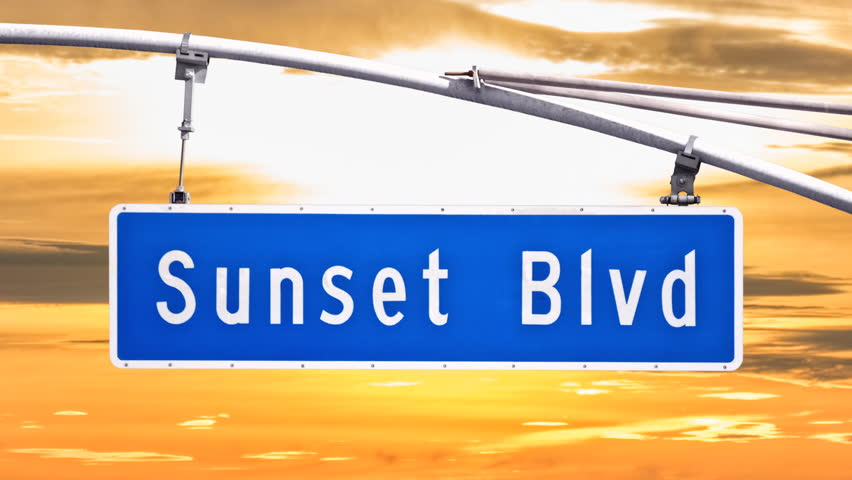Sunset Blvd street sign with time lapse sunset sky in Los Angeles, California. | Shutterstock HD Video #14424979