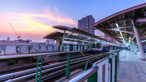 4k. Time lapse view  train station  BTS station of Bangkok Asia Thailand