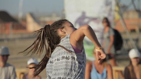 OLENEVKA/RUSSIA - AUG 02 2015: Girl Dancing DanceHall on The Dance Floor at the festival Extreme Crimea 2015