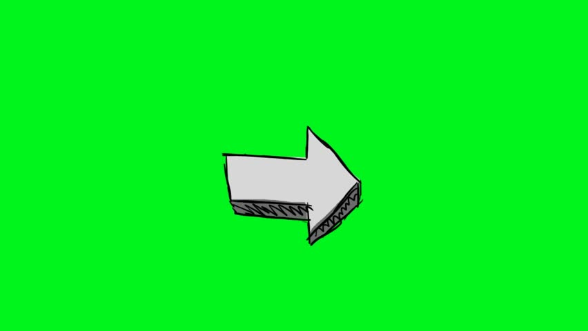 hand-drawn arrow on green screen