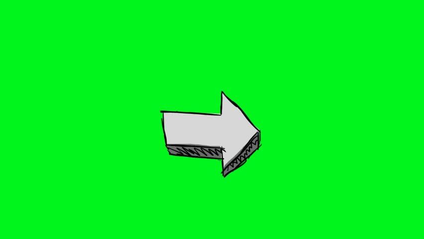 Hand-drawn arrow on green screen