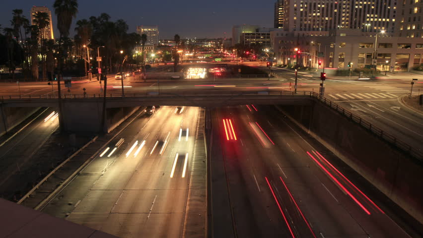 Downtown Los Angeles Night Traffic
