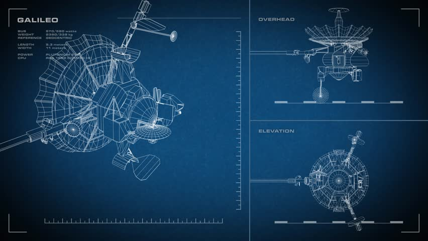 Looping, animated orthographic engineering blueprint of Galileo spacecraft. Displayed specs are accurate. Data: NASA/JPL. | Shutterstock HD Video #14551609
