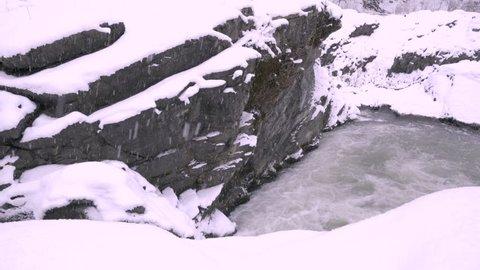 Waterfall & River seasons winter in Hokkaido, Japan.