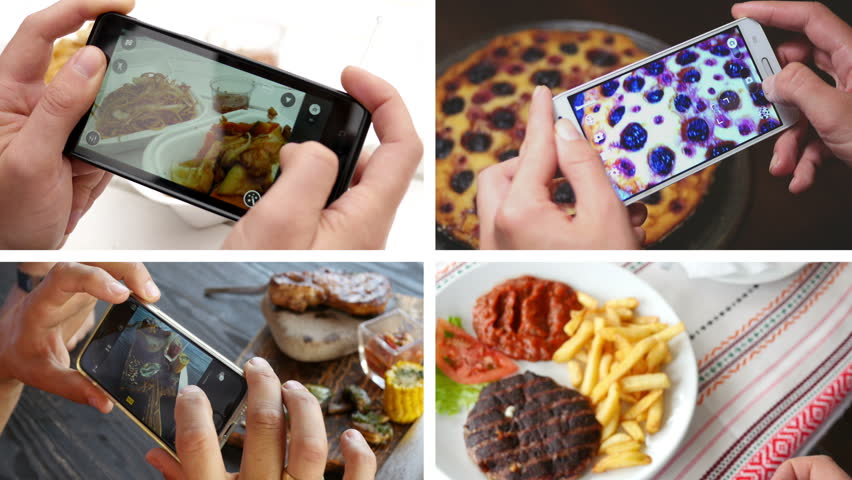 Collage of taking a photo picture of food in a restaurant with mobile phone camera for social network