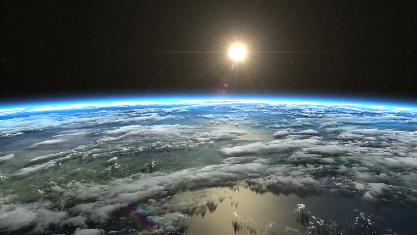 Beautiful slow sunrise from Earth orbit. View from ISS. Clip contains earth, sunrise, space, sun, awaken, clouds, water, sunset, planet, globe. Images from NASA.
