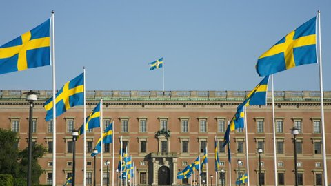 Celebration of the Swedish National Day, 6th of June. In the background the Royal Castle.