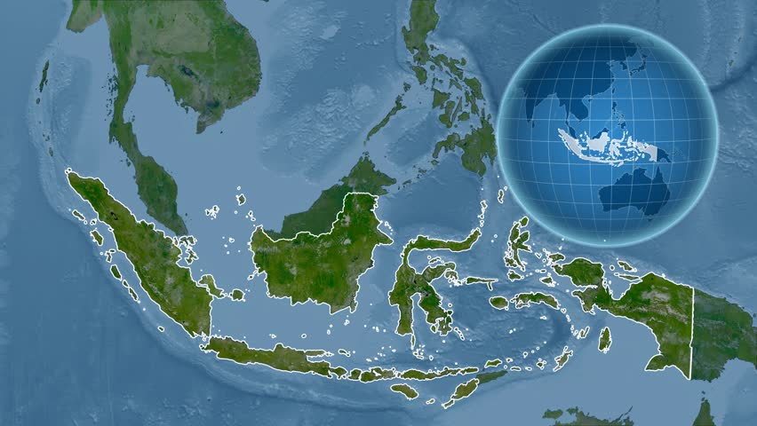 Indonesia Shape Animated On The Physical Map Of The Globe Stock