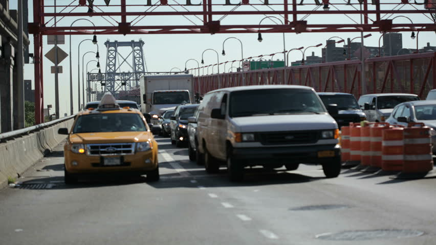 NEW YORK - OCT 6: (Timelapse View)  Vehicle traffic on the Manhattan side of the Williamsburg bridge. October 6th 2011 in New York.
