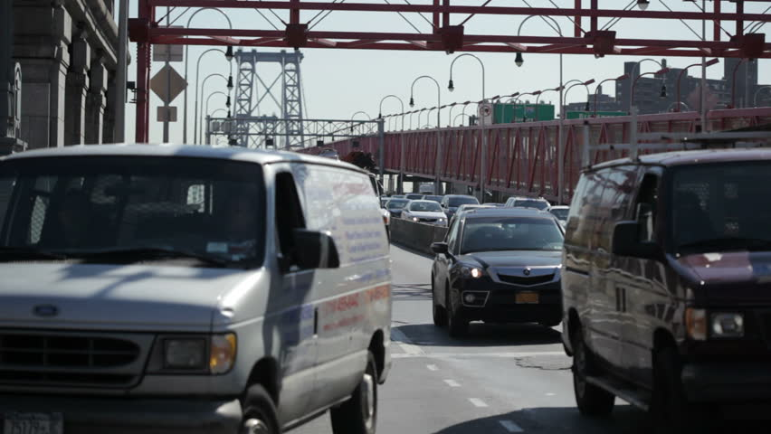 NEW YORK - OCT 6: Vehicle traffic on the Manhattan side of the Williamsburg bridge. October 6th 2011 in New York.