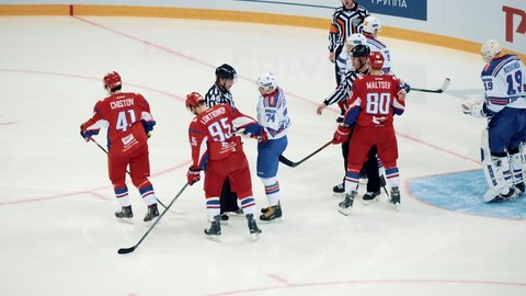 Yaroslavl, Russia, February 21 2016: KHL Playoff Lokomotiv - SKA highlights in overtime