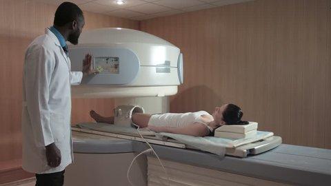 Radiologist Execute Procedure Mri Scanning Stock Footage