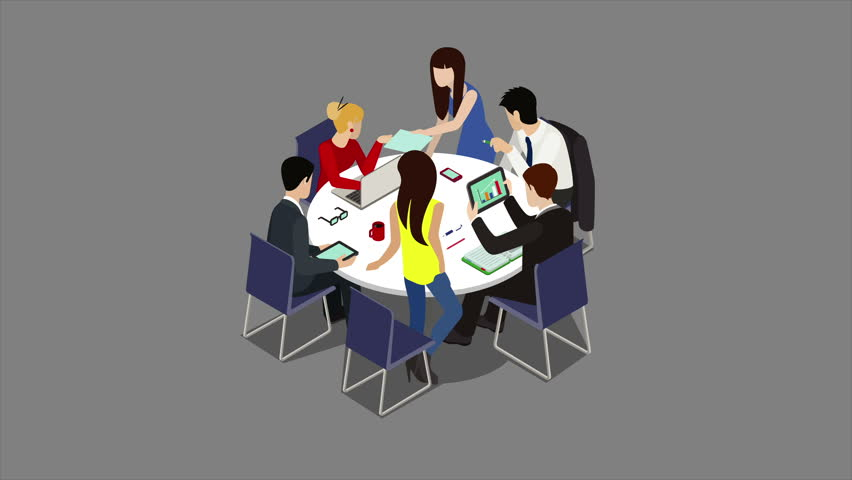 Brainstorming Creative Team Animated Discussion Stock