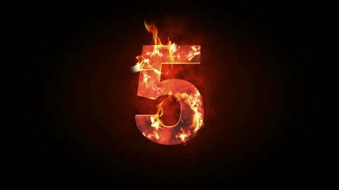 Countdown animation from 5 to 0 with explosion fire burning effect background for cinematic introduction title in 4k ultra HD video quality in extreme thrilling element concept