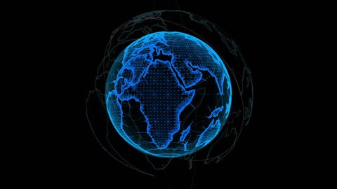 Wireframe Globe. loops seamlessly. Plexus Abstract Background, Slow Rotating Full HD