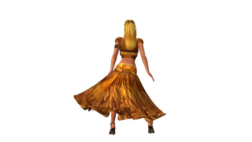 dancer dancing merrily on dance floor.dress&gold skirt with colorful stage light. cg_01129