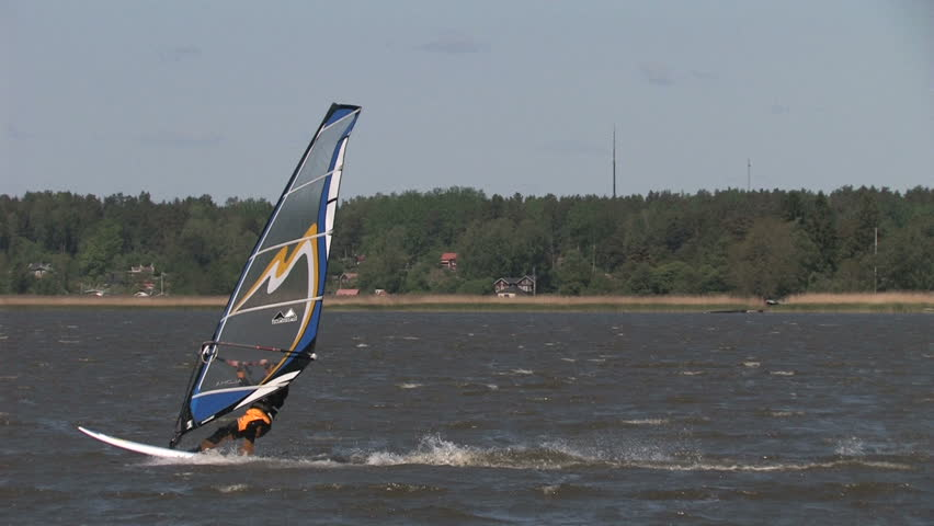 NYKOPING,SWEDEN - JUNE 25: Windsurfer in high speed in 