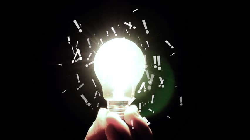 exclamation marks from light bulbs. Idea Light Bulb With Exclamation Sign