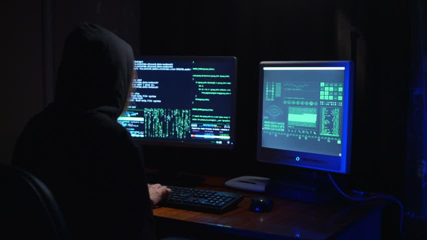 A Hacker Girl Working   HD Stock Footage Clip