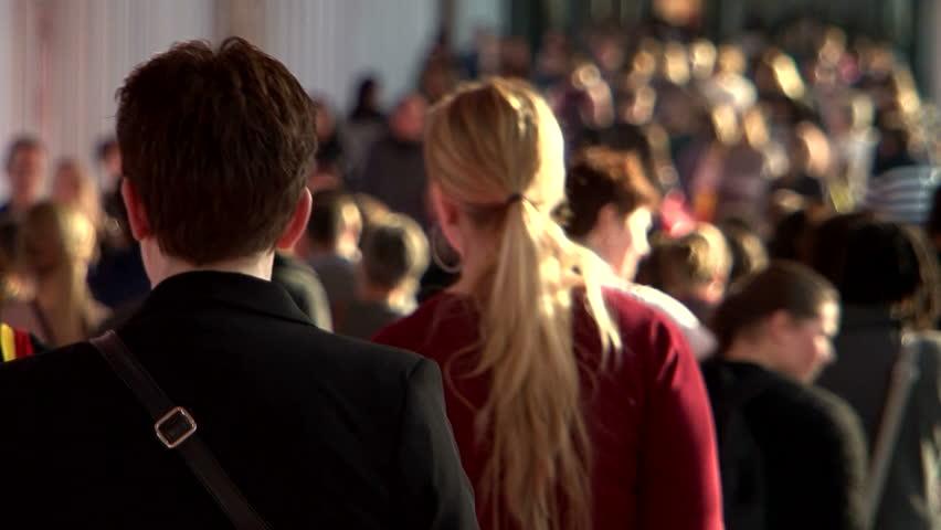 Large crowd of busy fair people women | Shutterstock HD Video #14892283