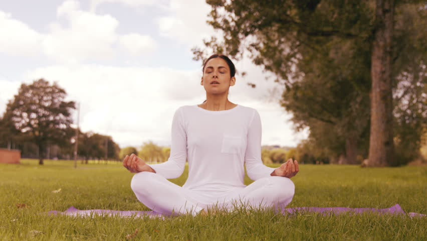 Pretty brunette doing yoga in park in high quality format | Shutterstock HD Video #14894065