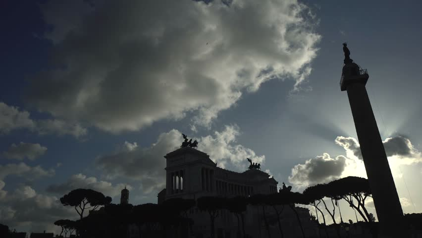 Pan, wide shot, backlit of Altare della Patria, Unknown Soldier monument in Rome, Italy. | Shutterstock HD Video #14898229