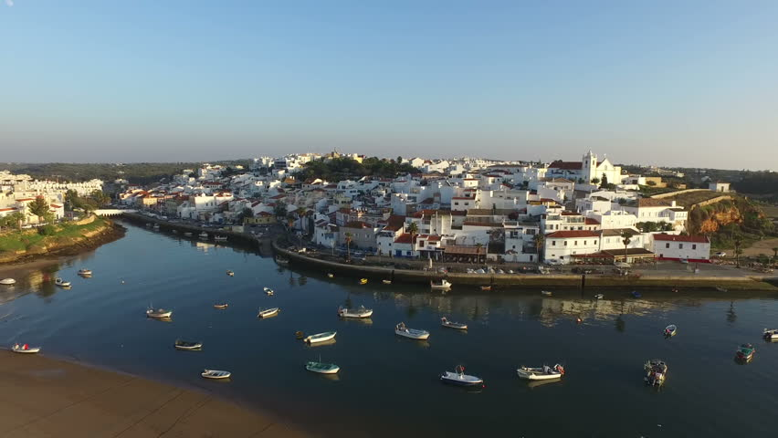 Aerial from the village Ferragudo in the Algarve Portugal | Shutterstock HD Video #14905219