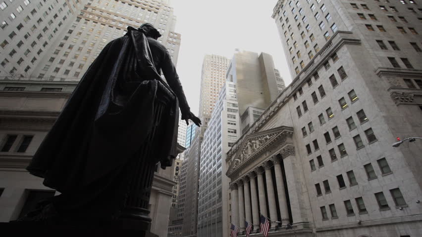 A dolly shot of New York's iconic Wall Street. | Shutterstock HD Video #14927263
