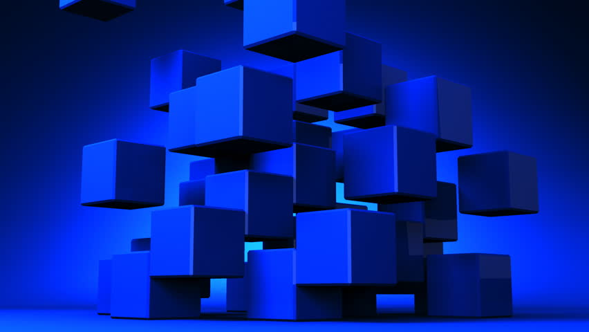 3d Cube In Black And Blue Abstract Qhd Wallpaper: Abstract Blue Cubes Floating On A Black Background