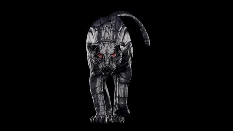 Evil Looking Cyborg Black Panther With Red Glowing Eyes Walking Towards Camera With Alpha Channel The Virtual Camera Is Placed Low Near The Floor 4k 60fps