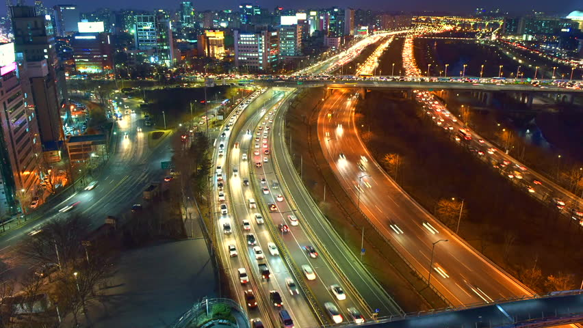 Beautiful time lapse of traffic in Seoul Korea. | Shutterstock HD Video #14980426