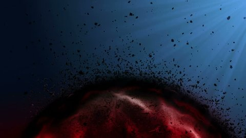 dying bloody cell and some parts Disintegrating and flying over black with blue light background, sick blood cell, cancer cell, Diseased cell, Tumor. fUll hd and 4k.  Medical and health care concept