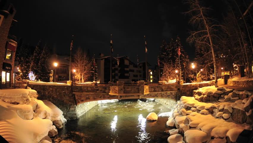 Night time lapse of Gore Creek flowing through Vail, Colorado.