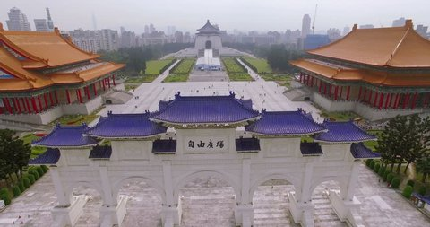 Aerial shot of Chiang Kai Shek (CKS) memorial hall in Taipei City