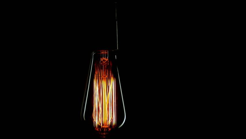 Real Edison light bulb flickering. Vintage filament Edison light bulb. Close up. 4K & Real Edison Light Bulb Flickering. Vintage Filament Edison Light ... azcodes.com