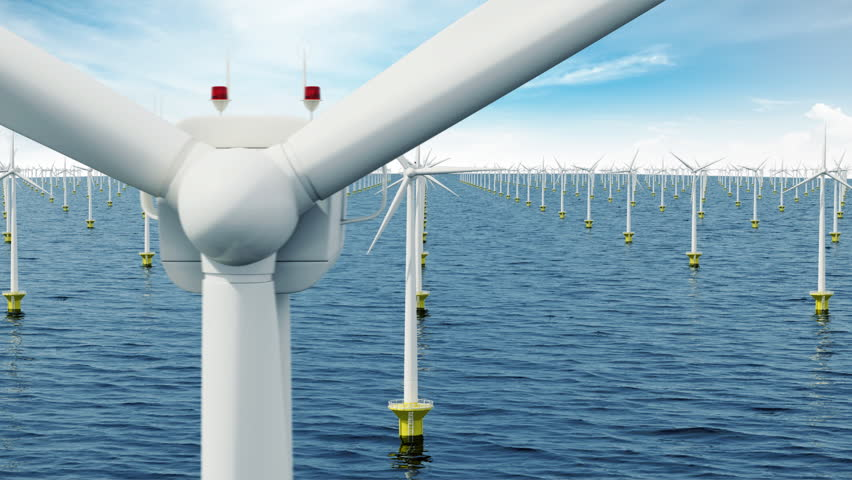 Offshore wind farm. Seamless loop.
