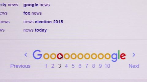 Moscow, Russia - February 17, 2016: Surfing Google website. the largest Internet search engine, belonging to the corporation Google Inc