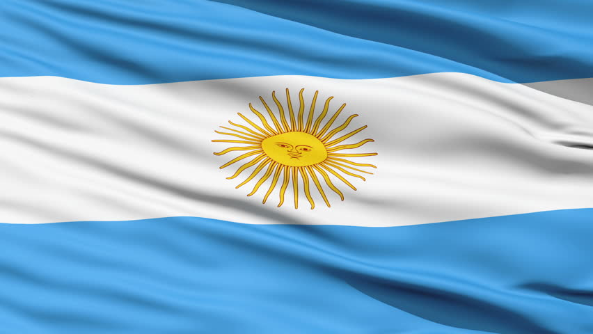 Rippled textile flag of Argentina with blue and white stripes and yellow sun close up background,seamless looping