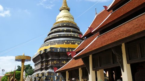 Pagoda in the temple. Wat Phra That Lampang Luang (Temple of Lampang's Great Buddha Relic) is located in Lampang Province.  It is one of travel destinations in Lampang Province.