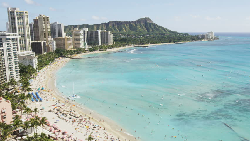 Hawaii Waikiki Beach In Honolulu Stockvideos Filmmaterial 100 Lizenzfrei 15135289 Shutterstock