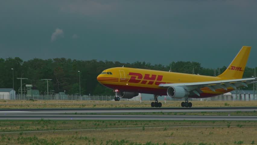 FRANKFURT AM MAIN, GERMANY - SEPTEMBER 5, 2015: DHL Airbus 300 D-AEAM landing on runway 25R. Unofficial spotting in Fraport on Sep. 5, 2015