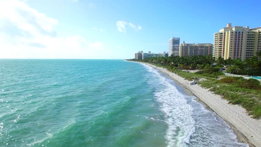 Beach cabanas aerial video 4k