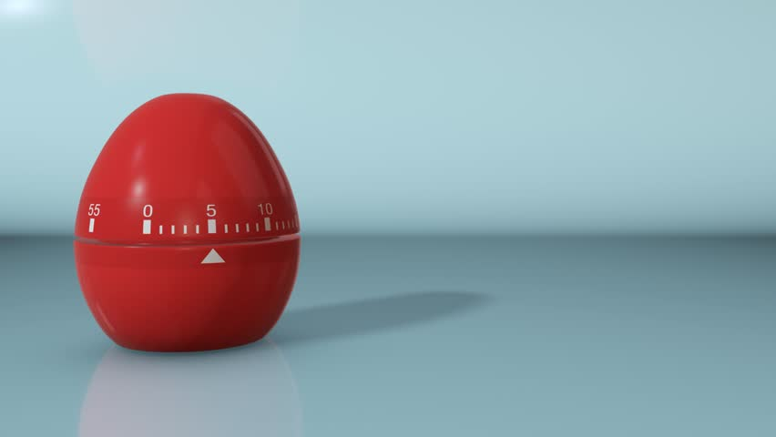 one egg timer with countdown and empty space at the right (3d render)