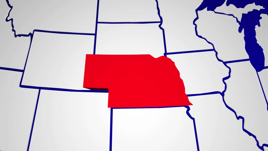 Nebraska Animated Map Video Starts With Light Blue USA National - Us map nebraska state