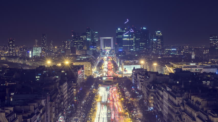 Paris, France | 4K Timelapse Sequence of the Financial district and The Avenue de la Grande Armée at night | Shutterstock HD Video #15212581