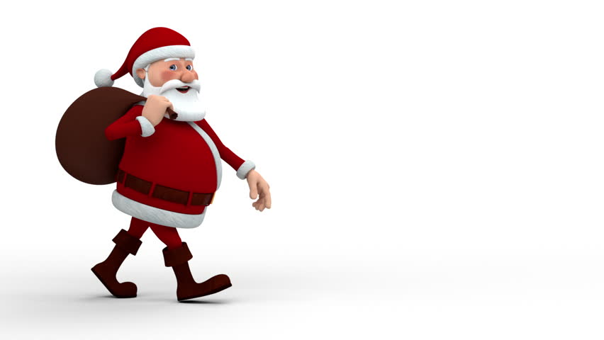Cartoon Santa Claus with gift bag walking across screen and smiling into camera - high quality 3d animation