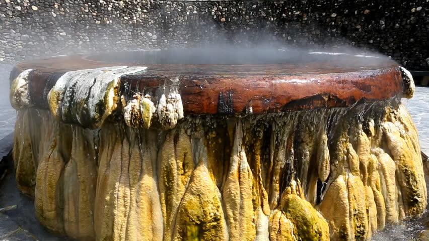 Hot spring in public garden at Ranong, Thailand