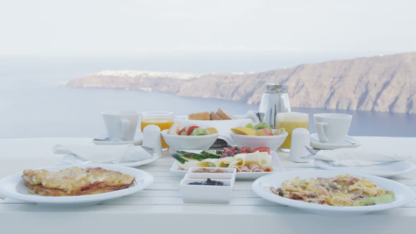 Breakfast Table By The Sea. Perfect Breakfast Table For Two Outdoors.  Romantic Setting With