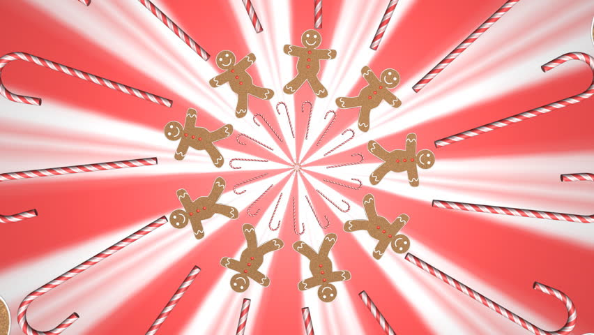 Motion graphics of gingerbread man and candy canes | Shutterstock HD Video #1534789